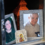 A photo of John Dimitriou at his grave, along with his late wife Voula, at the Northern Memorial Park in Glenroy.