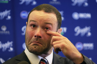 Boyd Cordner gets emotional as he announces his retirement at the SCG.