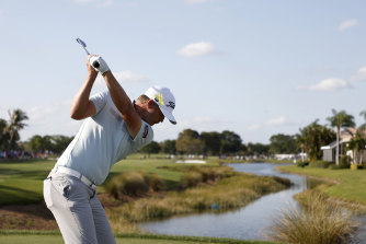 Matt Jones plays a shot on the 16th as he closes in on victory at the Honda Classic.