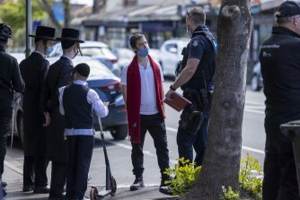 Police in Ripponlea on Wednesday.