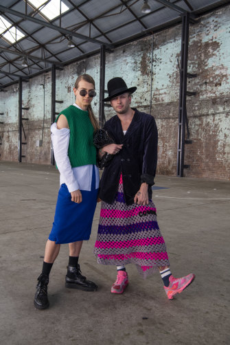 Christian Wilkins and boyfriend Andy Kelly at Mercedes-Benz Fashion Week.