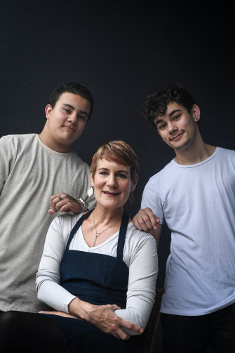 Xanana Gusmao's ex-wife, Kirsty Sword Gusmao, with two of their sons Daniel, left, and Alexandre, who have sent letters of support to Daschbach's accusers.