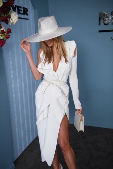 Final fling: Jennifer Hawkins at Myer Fashions on the Field.