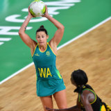 Madison Robinson of Australia in action against Jamaica on day seven of the XXI Commonwealth Games.