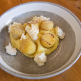 Dutch cream potato, soft ricotta and dry bonito.