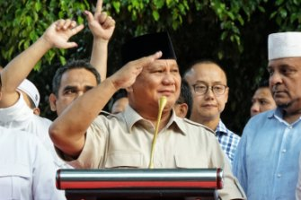 Prabowo Subianto during the election campaign.
