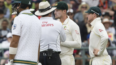 Cameron Bancroft talking to the umpire on the third day of the third Test.