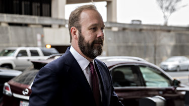 Rick Gates, former deputy campaign manager for Donald Trump, arrives at Federal Court in Washington, DC.