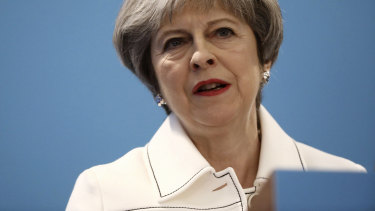 Britain's Prime Minister, Theresa May, speaks during the Conservative Party's Spring Forum in central London on  Saturday.