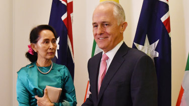 Myanmar's State Counsellor Aung San Suu Kyi meets Malcolm Turnbull at Parliament House on Monday.