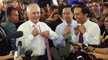 Malcolm Turnbull and Joko Widodo in Jakarta in 2015.