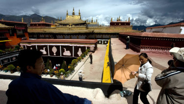 Jokhang Monastery, one of the oldest Tibetan monastery in  Lhasa, western China's Tibet province, in 2007.