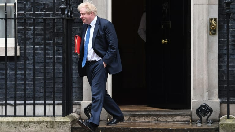 Boris Johnson leaves 10 Downing Street after Theresa May summoned people to a national security meeting on Monday.