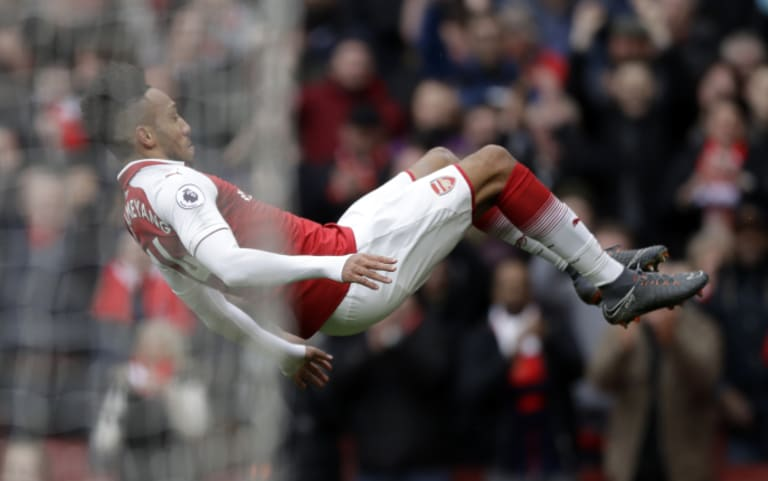 Arsenal's Pierre-Emerick Aubameyang celebrates scoring his side's second goal against Watford on Sunday.