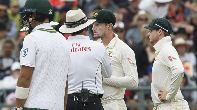 No explanation: Cameron Bancroft talking to the umpire after the ball tampering incident.