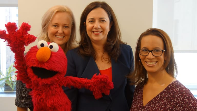 Premier Annastacia Palaszczuk, Screen Queensland chief executive Tracey Vieira and Sesame Street producer Kim Wright with Elmo at their meeting in New York.