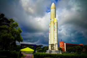 space rocket monument inside Guiana Space Centre 07.05.2013 Kourou, French Guiana