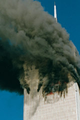 A photo taken after American Airlines Flight 11 hit the North Tower of the World Trade Centre, before the South Tower was hit on September 11, 2001.