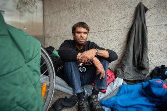Brendon Jones at a homeless camp on James Street in Northbridge.