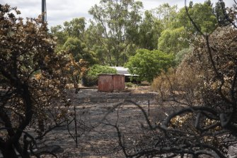 A sea container on a property near where the fire first started on Monday. WA Police and DFES are currently investigating the cause of the Wooroloo blaze.