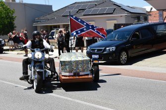 The funeral of bikie Nick Martin in Perth. WA police have used QR code data as part of their invesigation.