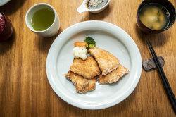 Teriyaki salmon with green tea and miso soup.
