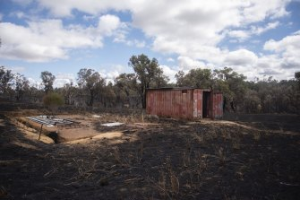 A metal container at the back of an acreage on Harper Road razed by the bushfires.