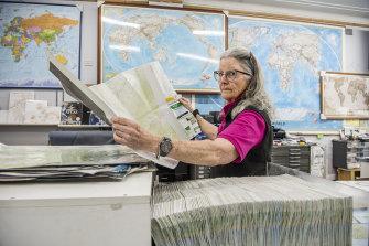 Dianne Eggins at her map store in Parramatta.