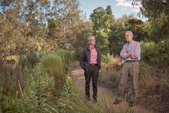 Tim Entwisle and Neville Walsh at the Royal Botanic Gardens Melbourne.
