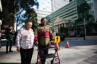 Mr Riley's parents outside of Perth Magistrates Court.
