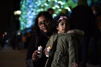Vani Santhirasegaram and her daughter Akshaya during the vigil in support of theMurugappan family at Perth Children's Hospital.