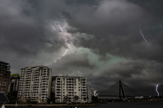 A severe supercell thunderstorm tracks south-east over Pyrmont in Sydney.