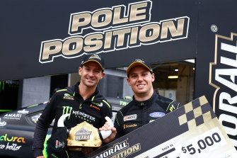 Cameron Waters celebrates pole position with co-driver Will Davison.