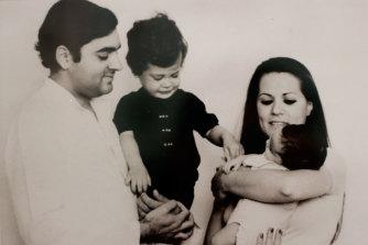 An early '70s snapshot of Rajiv and Sonia Gandhi with Rahul and Priyanka.
