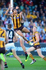 Cyril Rioli flies against the Saints.