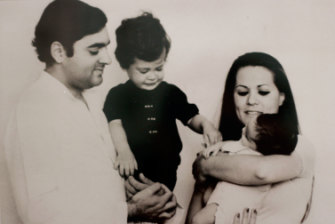 An early '70s snapshot of Rajiv and Sonia Gandhi with Rahul and Priyanka.