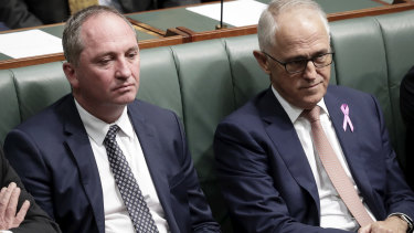 Barnaby Joyce and Prime Minister Malcolm Turnbull in Parliament on Thursday.