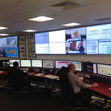 The control centre monitors the performance of Origin's power generators across the NEM.