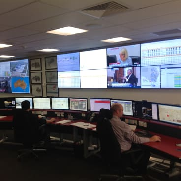 The control centre monitors the performance of Origin's power generators across the NEM.