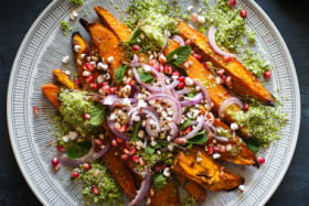 Roast vegies with a spring twist from sweet 'n' spicy sprouts to tangy sweet potato