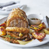 Karen Martini's roasted pork scotch fillet with burnt honey and grilled peaches