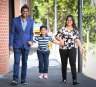 Exciting time: Arjun Kumar Singh, wife Anindya Singh and son Akshaz will long on to an online Australian citizenship ceremony on Friday.