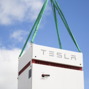 A Tesla battery unit is installed at the Hornsdale Power Reserve in South Australia. Frenchenergy giant Neoen now has plans for a 50 per cent expansion.