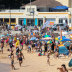 Crowds pack Cronulla beach on Sunday.