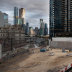 The deserted construction site of the Melbourne Quarter project on Collins Street on Monday.