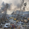 Aftermath of a massive explosion is seen in in Beirut, Lebanon in August.