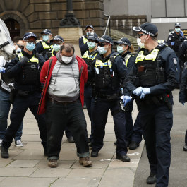 Protesters arrested at an anti-lockdown Melbourne Freedom March