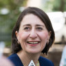 NSW Premier Gladys Berejiklian pictured on Sunday after her election victory.