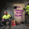 Mafi Pahulu is a crane crew worker who writes uplifting messages on the building site.