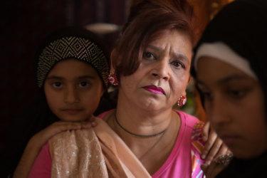 Rubina Nawabi and her daughters Aamna, 9, and Ayesha, 14..